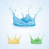 Spruzzata dell'acqua di colore Immagini Stock Libere da Diritti