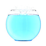 Spruzzata dell'acqua in un fishbowl Immagini Stock