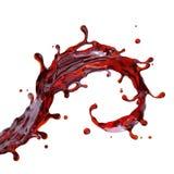 Spruzzata della bevanda del succo della ciliegia o del vino rosso Fotografia Stock
