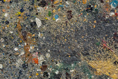 Spruzzata della pittura ad olio sul pavimento Fotografie Stock Libere da Diritti