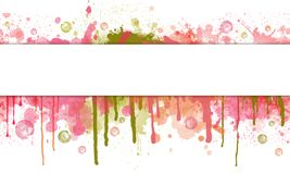 Spruzzata della pittura ed insegna astratte del gocciolamento con lo spazio del testo illustrazione vettoriale