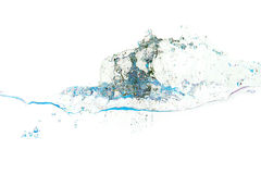 Spruzzata di acqua dei colori blu su priorità bassa bianca Fotografia Stock Libera da Diritti