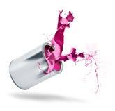 Spruzzata di colore di cadute della latta della vernice Fotografia Stock