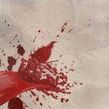 spruzzata di colore rosso della pittura 3D isolata su carta corrugata Fotografia Stock