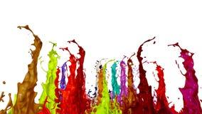 Spruzzata di pittura liquida sull'altoparlante di musica animazione 3d in 4k 7 illustrazione di stock