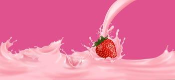 Spruzzata di rosa del latte della fragola fotografia stock libera da diritti