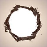 Spruzzata dinamica liquida della bevanda del caffè o del cioccolato Immagine Stock