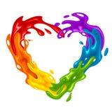 Spruzzata in forma di cuore vibrante nei colori di LGBT Fotografie Stock