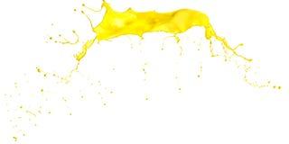 Spruzzata gialla della pittura su fondo bianco Fotografia Stock