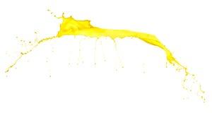 Spruzzata gialla della pittura su fondo bianco Fotografia Stock Libera da Diritti