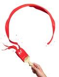 Spruzzata rossa della vernice del cerchio Fotografia Stock