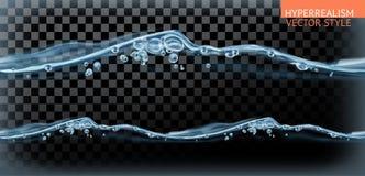 Spruzzata senza cuciture dell'acqua, stile di vettore di iperrealismo illustrazione di stock