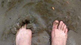 Spruzzata umana delle gambe in acqua stock footage