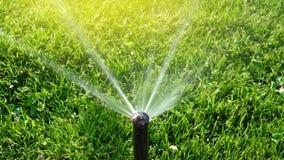 Spruzzatore dell'acqua del giardino con il chiarore fotografia stock