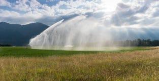 Spruzzatore ed impianto di irrigazione su un campo agricolo di recente coltivare sotto un cielo espressivo nuvoloso con splendere Immagini Stock Libere da Diritti