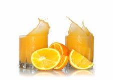 Spruzzatura del succo di arancia Fotografia Stock Libera da Diritti