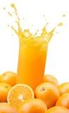 Spruzzatura del succo di arancia Fotografia Stock