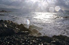 Spruzzatura dell'acqua di mare Fotografie Stock