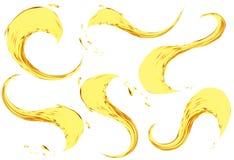 Spruzzatura dell'olio isolata sul fondo bianco Insieme dell'illustrazione di vettore 3d Liquido giallo realistico con le gocce Immagine Stock Libera da Diritti
