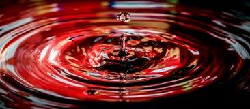 Spruzzatura delle gocce di acqua rosse Immagini Stock