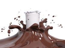 Spruzzi il cioccolato ed il latte nella rappresentazione di vetro 3d illustrazione di stock
