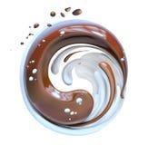 Spruzzi il cioccolato ed il latte, rappresentazione della miscela 3d di yin yang del cioccolato Fotografie Stock Libere da Diritti