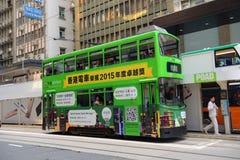 Spårvagn för Hong Kong dubblettdäck, Hong Kong Island Arkivbild