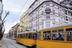 Spårvagn i staden av Sofia, Bulgarien Fotografering för Bildbyråer