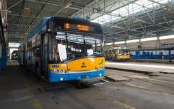 Spårvagn och bussbussgarage och seminarium Royaltyfria Foton
