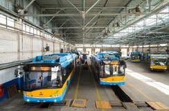 Spårvagn och bussbussgarage och seminarium Royaltyfri Foto
