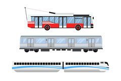 Spårvagnen och trådbussen för stadsväg transporterar vektorillustrationen Arkivbild