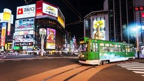 Spårvagnritt på det Susukino området, Sapporo Arkivbilder