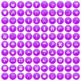 100 sprzętów ikony ustawiających purpur ilustracja wektor