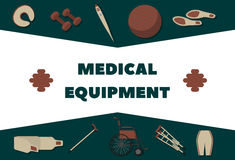 Sprzęt medyczny dla rehabilitaci, wyzdrowienia i zdrowie promoci, ilustracja wektor