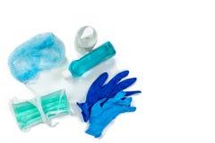Sprzęt Medyczny, maska, rękawiczka, ustawia higiena zestawu białego tła odgórnego widok zdjęcia stock