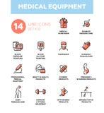 Sprzęt medyczny - Nowożytne proste cienkie kreskowe projekt ikony, piktogramy ustawiający ilustracja wektor