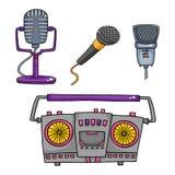sprzęt muzyczny serii doświadczeń muzyczny strzał Retro taśma pisaki i kolekcja mikrofon ilustracja wektor