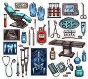 Sprzętu medycznego i operacji rzeczy, wektor ilustracja wektor