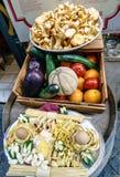 Sprzeciwia się z pieczarkami, aubergines, pomarańcze, pomidory, zucchini, Zdjęcia Stock