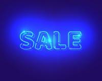 Sprzedaż błękitni neonowi elektryczni listy reklamowy projekt Obraz Stock