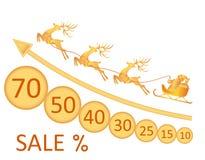 sprzedaż boże narodzenie w nowym roku Wizerunek Święty Mikołaj, rogacz, monety, rabaty ilustracja Zdjęcie Stock