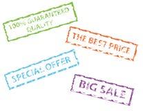 sprzedaż gumowi znaczki Obrazy Stock