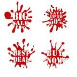 Sprzedaż kleksa kolekci czerwień Fotografia Royalty Free