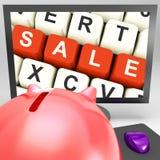 Sprzedaż klucze Na monitorze Pokazuje Specjalne promocje ilustracja wektor