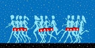 Sprzedaż logo z kobieta płatkami śniegu i sylwetkami fotografia royalty free