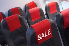 Sprzedaż lota pojęcie Puste siedzenie w samolocie, linia lotnicza oferuje pojęcie obraz royalty free