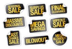 Sprzedaż majchery ustawiają - sezonową sprzedaż, definitywna odprawa Zdjęcie Stock