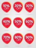 Sprzedaż najlepszy czerwoni majchery inkasowi Dyskontowa oferty ceny etykietka royalty ilustracja