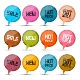 Sprzedaż, Nowe, Gorące cena okręgu wektoru etykietki, Zdjęcia Stock