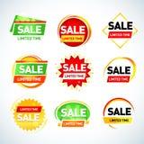 Sprzedaż ograniczający czasu sztandaru szablony ustawiają, sprzedaży etykietki, znaki, majchery button ręce s push odizolowana po Zdjęcie Royalty Free